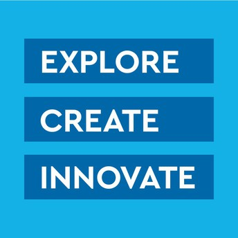 Text reading explore, create, innovate on a blue background