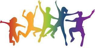 rainbow kids jumping in the air