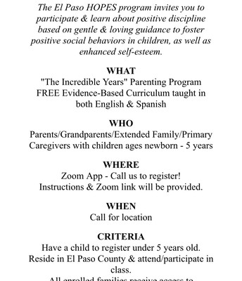 The Incredible Years - Parent Support Classes