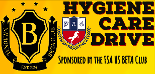 High School BETA Club Hosts Hygiene Care Drive during the month of February