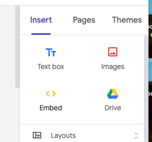 embed button in Sites