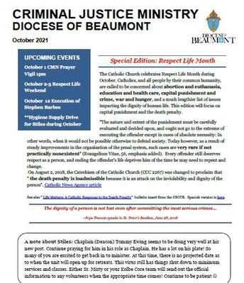 October 2021 Diocesan Criminal Justice Newsletter