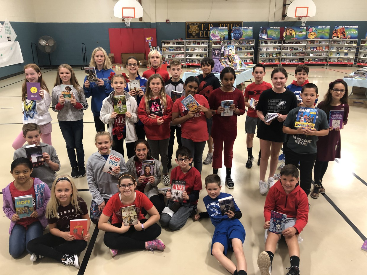 Mrs. London's fifth graders want to thank the Home and School and Race for Education for the Book Fair books they got using their vouchers!