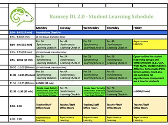 DL 2.0 Schedule
