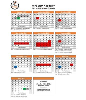 STEM Calendar for 2021-2022