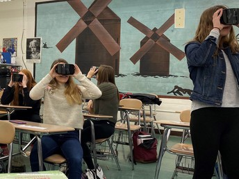 Chardon High School students using Google Expeditions goggles for virtual reality field trips