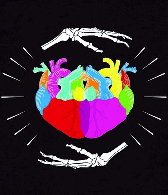 Artwork created by Graphic Design student, Samuel Jimenez: heart with a skeletal hand underneath.
