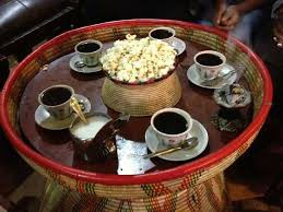 Ethiopian coffee and popcorn is served after the meal.