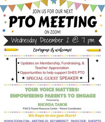 PTO Meeting 12/2/2020 at 7 PM/Reunión de la PTO 12/2/2020 a las 7 PM