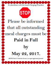 Reminder About Breakfast and/or Lunch Money
