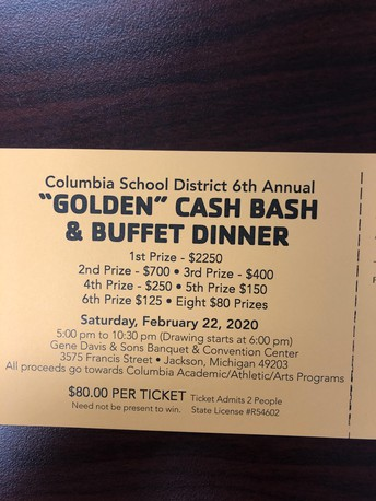 CASH BASH IS COMING SOON!  GET YOUR TICKETS IN THE HIGH SCHOOL OFFICE!