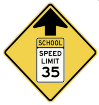 CAUTION: Speed limit is 35mph in front of the school/county road 23