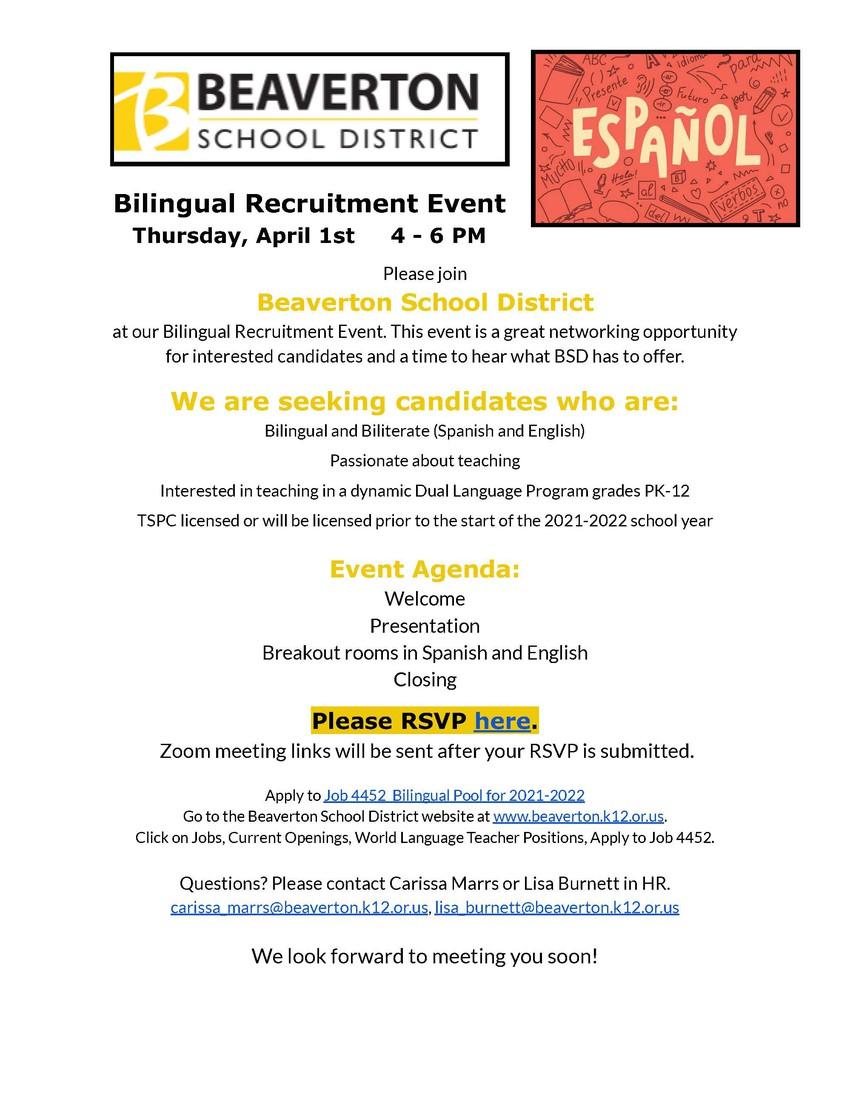 Bilingual Recruitment Event Flyer