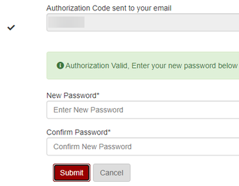 Create and confirm new password