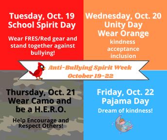 Picture of Anti-Bullying Spirit Week Flyer