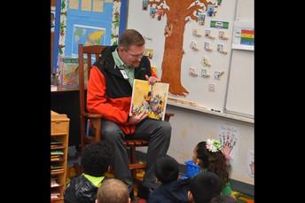 Mr. Hathaway Reading to Students