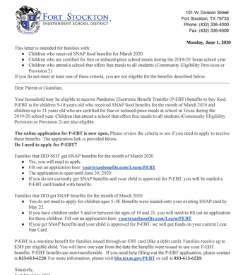P-EBT June 1 Letter in English