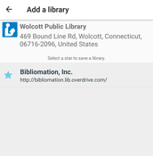 "Tap on the star to save the your library. To access the site, tap ""Bibliomation, Inc."""