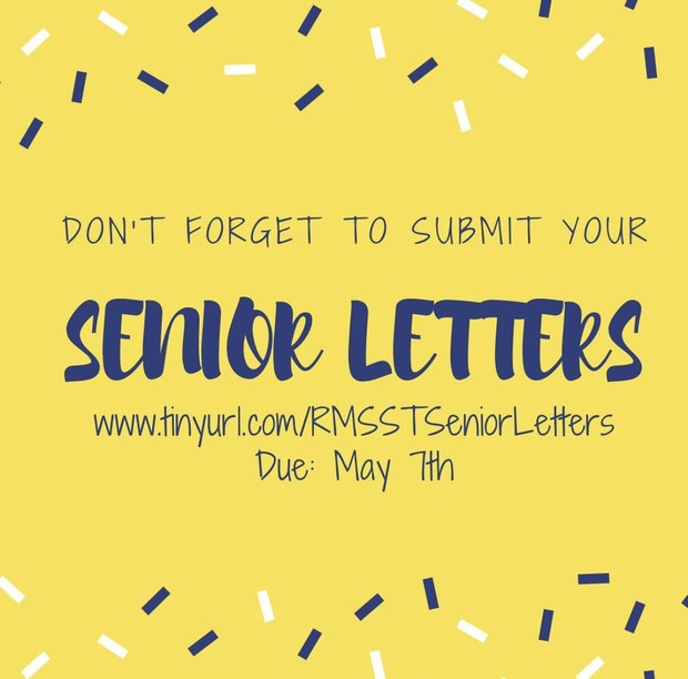 yellow background with blue text reminding students to write senior letters