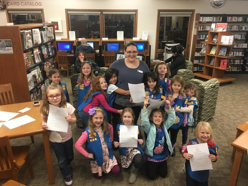 Kelli recently told the local Girl Scout Troop what the library was all about.
