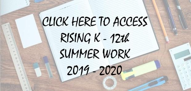 2019 - 2020 Summer Work