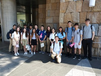 Student group traveling in Japan