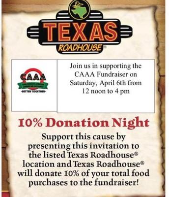 CAAA Texas Roadhouse Fundraiser