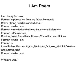 Immy's I am Poem