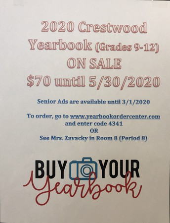 2020 Crestwood Yearbook (grs. 9 - 12) on sale!