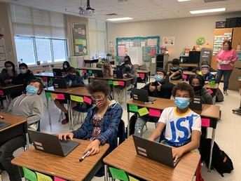 Mrs. Armijo's 6th Grade Class & Ms. Watson's 4th Grade Class (below)