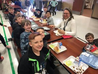 Mrs. Gonzalez eats in the lunchroom