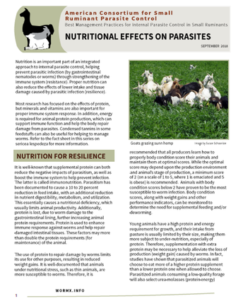 Fact Sheet:  Nutritional Effects on Parasites