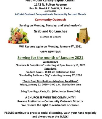 COMMUNITY OUTREACH MON, TUES, WEDS 11:30am - 1:30pm