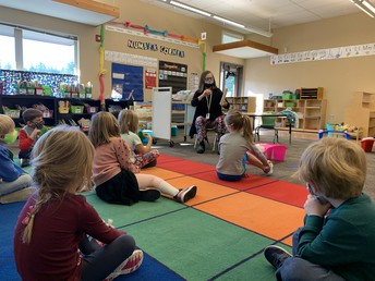 Students learn from specialists who visit their classroom.