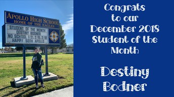 December 2018 Student of the Month