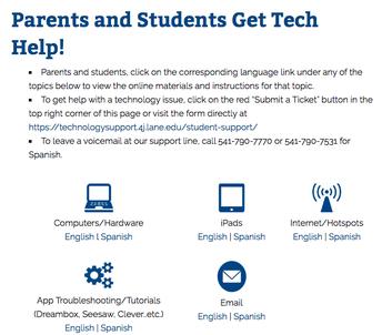 Parent & Student Tech Help