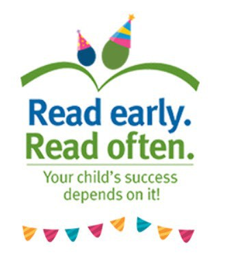 Read early. Read often. birthday logo