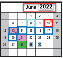 REVISION:  SY 2021-2022 Calendar for 12-Month Employees