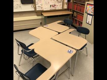 Cohort table arrangement - sticker indicators of where to sit