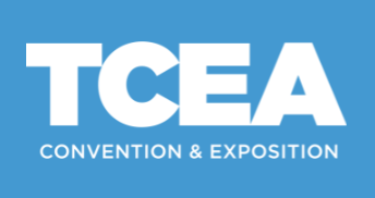 TCEA Convention and Exposition icon written in white lettering against sky blue background