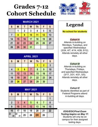 Grades 7-12 Cohort Schedule