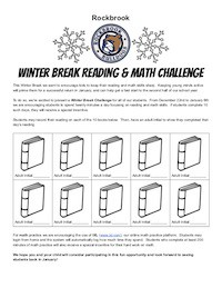 Rockbrook Winter Break Challenge, Reading and Math! - COMING NEXT WEEK!