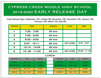 WEDNESDAY: Early Release Day Bell  Schedule