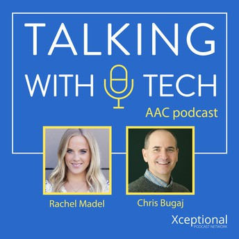 This image refers to the free, weekly Talking with Tech podcast presented by Rachel and Chris. The podcast is dedicated to Augmentative and Alternative Communicators and those who support them. Click the link to access their podcast.