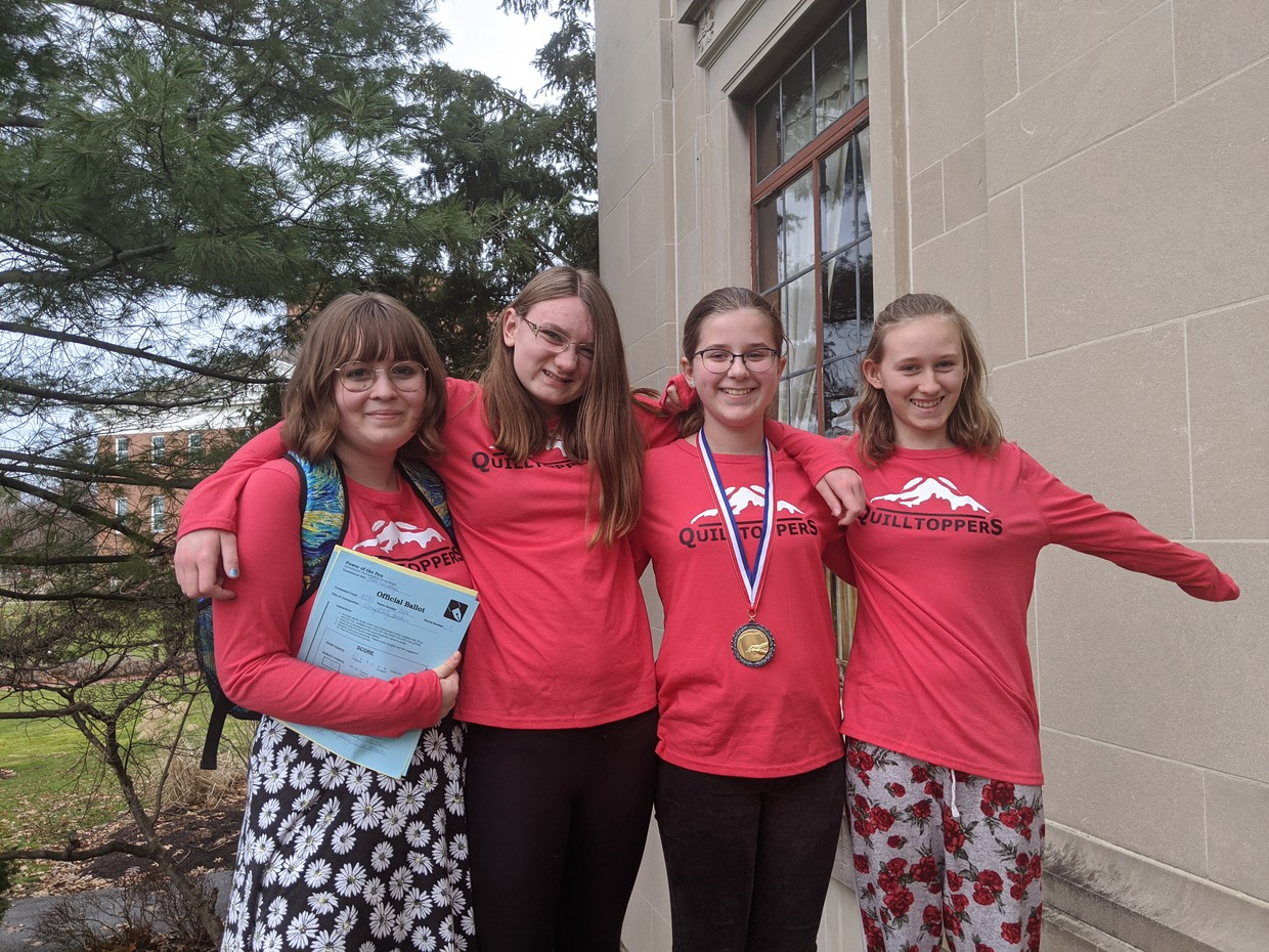 Chardon Middle School Power of the Pen Quilltoppers (l to r) Charlotte Jons, Evelyn Kennedy, Sadie Kuhnle, Rose McGreevy