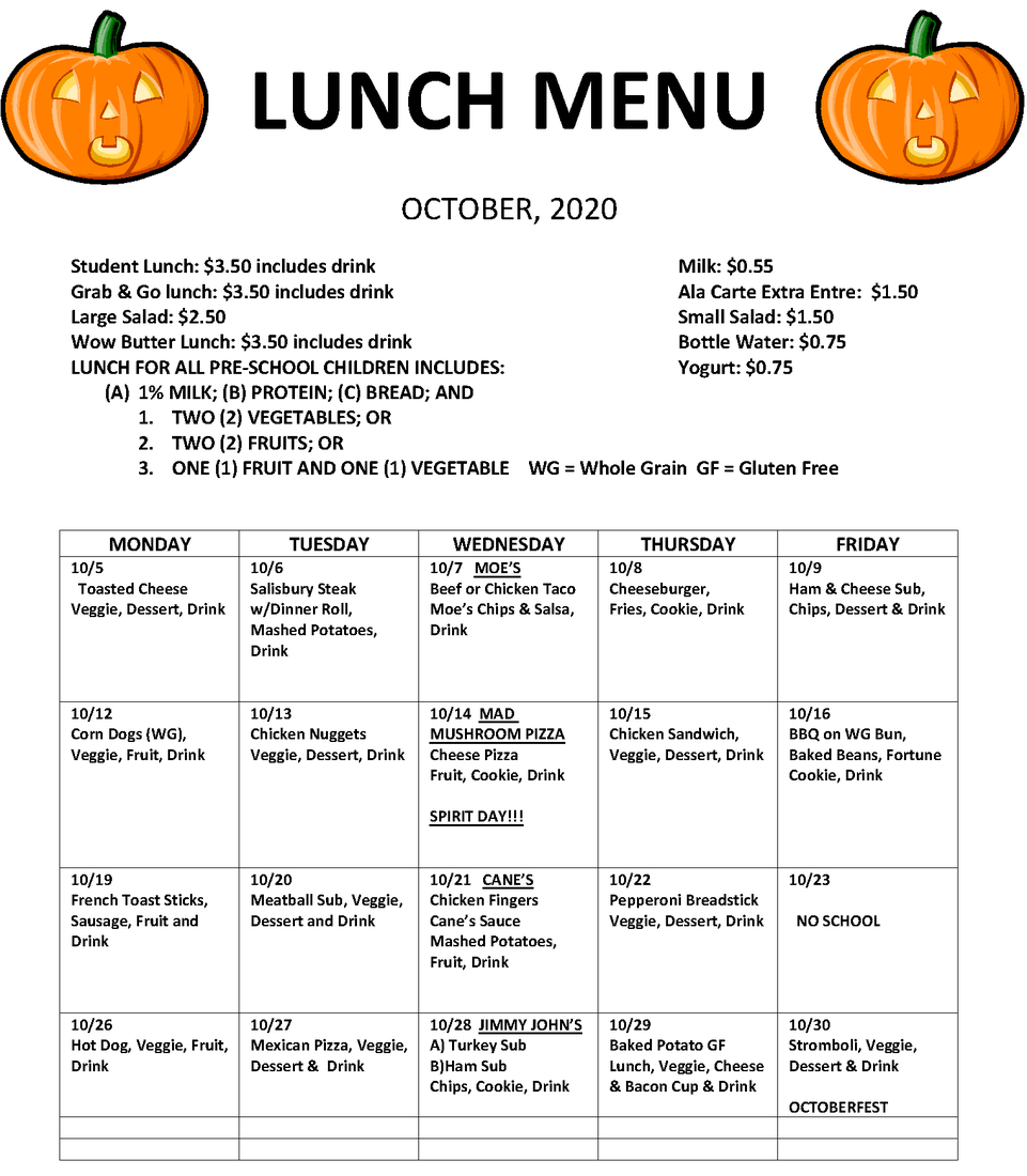 This Month's Lunch Menu