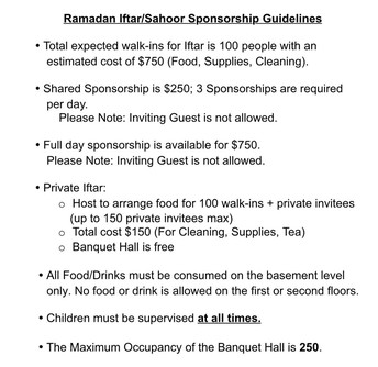Iftaar and Sahoor Sponsorship For Ramadan
