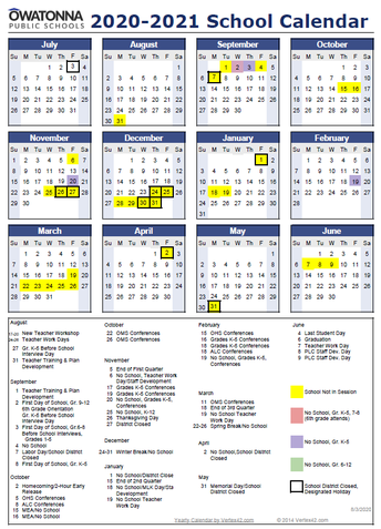 Image of school year calendar