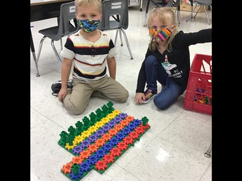 Kindergarten Students Working Hard