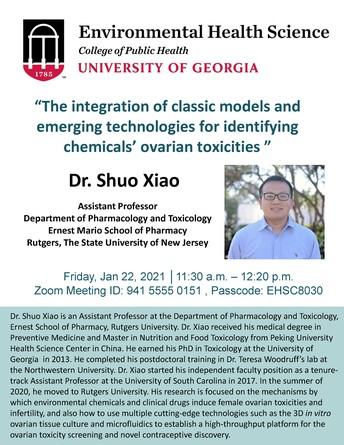 Environmental Health Seminar: Integration of classic models and emerging technologies for identifying chemicals' ovarian toxicities